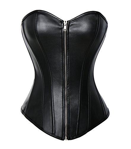 MISS MOLY Superbe Corset Mesdames Regarde en Cuir Noir par la Lingerie et G-String, Noir (Zip), M/FR40~42(Bust89~95 Wais70~76)