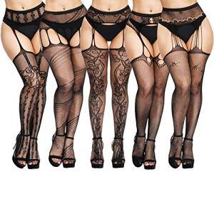 Chalier 5 paires de bas sexy pour femmes avec bretelles bretelles bretelles bas résille bas résille collants