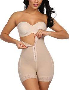 Femme Gaine Amincissante Body Gainant Ajustable pour Ventre Plat Lingerie Gainante Minceur Combinaisons Sculptantes Beige-13 XL