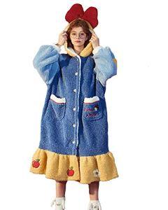 GAOFANG Fille Peignoir Polaire à Capuche Hiver, Peignoir de Bain Molleton Robe de Nuit Molleton, Pyjama en Velours Corail Chaud et Doux,Bleu,S