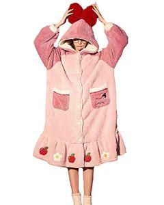 GAOFANG Peignoir Femme Doux en Microfibre, Peignoir Robe de Chambre en Polaire Femme Chaud Manches Longues Doux Peignoir de Bain,Rose,L