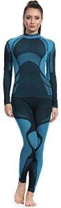 Ladeheid Ensemble Thermique T-Shirt Manches Longues et Caleçon Long sous-vêtements Femme LASS0016 (Noir/Turquoise, XL)