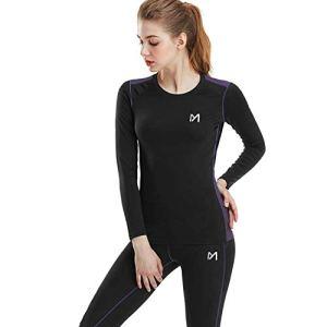 MEETYOO sous-vêtements Thermiques Femme, Ski sous Vetement Chauffant Sport Base Layer Manches Longues pour L'entraînement Running Randonnée Cyclisme