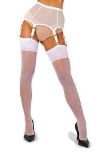 sofsy Femme Bas pour Porte-Jarretelles Bas Fins pour Porte-Jarretelles Bas Nylon 15 Den [Fabriqués en Italie] (Porte-Jarretelles non inclus) White 5 – X-Large