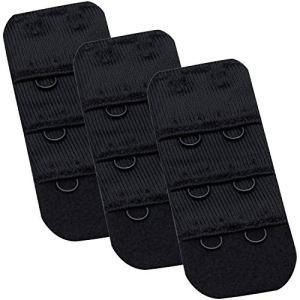 Wingslove Femme 3 pièces Rallonges Extensions pour Soutien Gorge Extensseurs (Noir*3, 2 Crochets 3/8 inch)