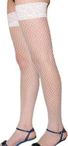 XMJFemmes Sexy Cuisse Haute Fencenet Bas Résille/Élastiques Hold ups, Blanc