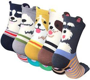 5 Paires Femmes Chaussettes Mignonnes Chaussette Hiver en Coton Motif à Animaux Chat Chien Kawaii Multicolore,Style 01,Taille unique