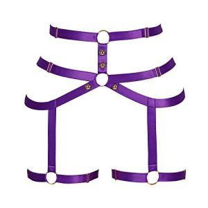 BBOHSS sous-vêtements féminins Sling Jarretière Punk Gothique Taille Costume De Danse Réglable (Violet)