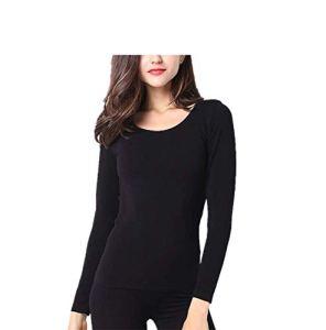 BOBD-DW sous-Vêtements Thermiques pour Femmes Ensemble Long pour Pyjama Chemise Thermique Femme Hiver Couleur Unie Black One Size