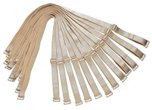 Bretelles de rechange pour soutien-gorge d'épaule 12 mm 15 mm 18 mm de largeur élastique réglable amovible multicolore – Beige – Large