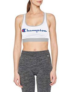 Champion The Absolute Workout Soutien-Gorge de Sport, Blanc Logo, Medium (Taille Fabricant: M) Femme