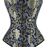 Charmian Women's Steampunk Vintage Spiral Steel Boned Embroided Pattern Boby Shaper Overbust Corset Top Gold/Blue XXXXXX-Large