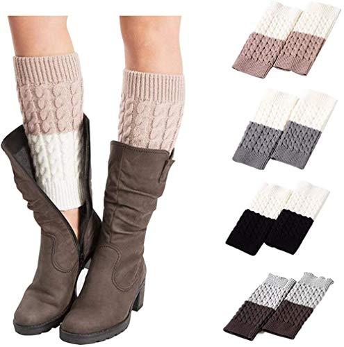 Chaussettes chaudes pour femme en tricot avec bordure en dentelle – Multicolore – Taille L