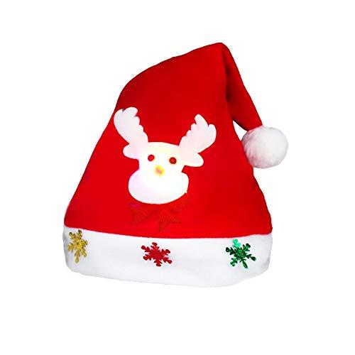 Décoration de Noël Napped Tissu Chapeau de Père Noël luminescentes Enfants Déguisé Noël Chapeau, Beau et Doux Chapeau de Noël, Livraison Motif aléatoire ChunRongShangMaoYouXianGongSi