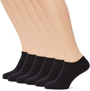 Dim Socquettes Courte Basique Coton X6, Femme – Noir (Noir 0hz) – 35/38 – Lot de 6 (3 x 2)