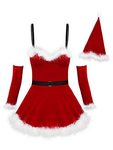 Freebily Dames Femmes Robes Noël Mère Cérémonie Déguisement Père Noël Robe de Bal Boîte de Nuit à Paillettes Ecailles Taille Haute avec Gants S-XXL Rouge A M