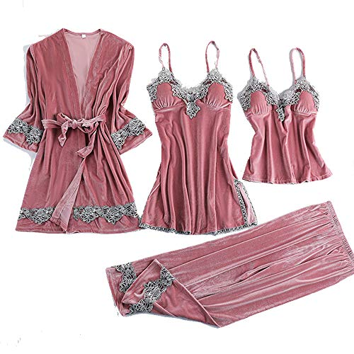 GUO Femmes en Satin de Soie Pyjama Set, Soie satins Robe en Dentelle Robe de Nuit Pantalons Shorts & Wear Accueil,Rose,XXL