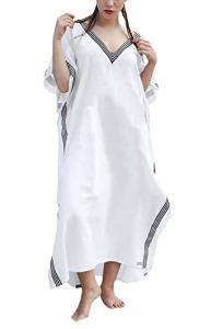 HaiDean Robe Tunique Femme Longues Vacances Casual Eté Robe Casual Moderne Plage Baggy Manches 3/4 V-Cou Crème Solaire Bikini Cover Up (Color : Blanc, One Size : One Size)