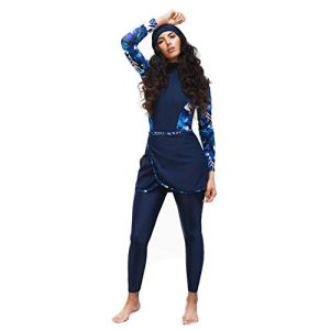 HaoFan Maillot de Bain Musulman Modeste – Ensemble de Burkini pour Femmes Ensemble de Pantalons Hijab Couverture Complète Séchage Rapide Élastique Beachwear Protection Solaire UPF 50+