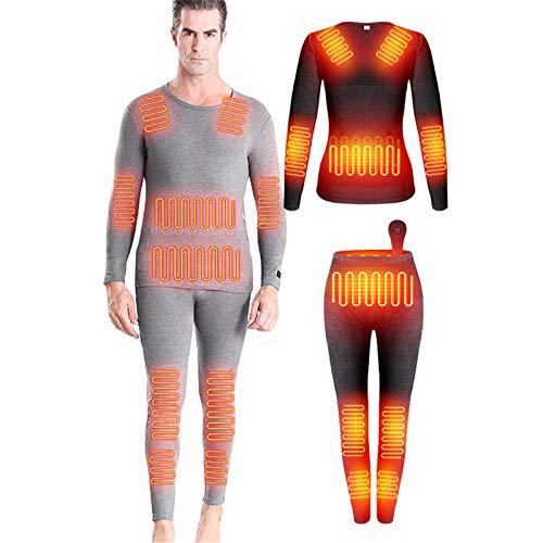HWZZ Combinaison De sous-Vêtements Chauffante Et Résistante Au Froid Unisexe en Deux Pièces, Alimentation USB 12 Blocs Chauffants en Fibre De Carbone,Men's,XL