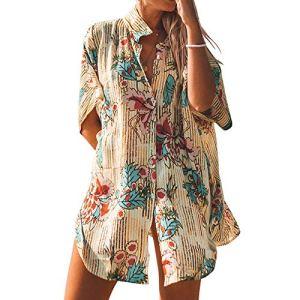 imprimé en Mousseline de Soie Plage vêtements de Protection Solaire Plage Chemise Ample Bikini Couverture extérieure