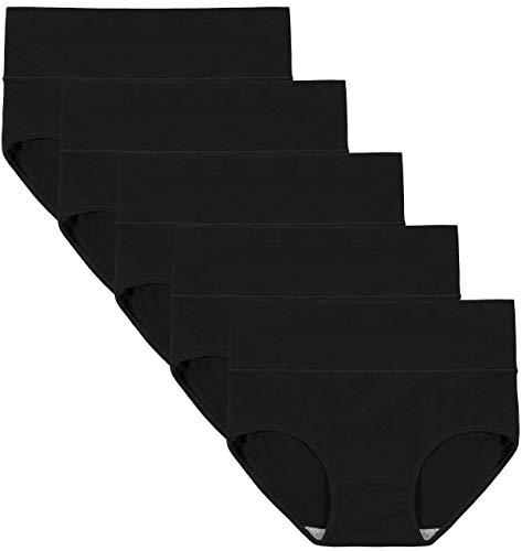 INNERSY Culotte Femme Taille Haute Slip Coton Noir sous-vêtement Gainante Post Accouchement Lot de 5 (XXL, Noir)