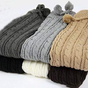 Jambières longues en tricot pour femme – Couleur unie – Tendance – Décontracté – Gris clair