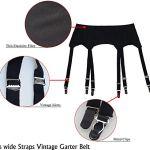 JFS Black Vintage Metal Clips 6 Larges Bretelles Femmes Sexy Porte-Jarretelles pour Bas