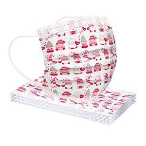 lady hill-iu 20PC Masque jetable pour Adulte de la Saint-Valentin Masque de Crochet d'oreille de Motif de GNOME de Noël