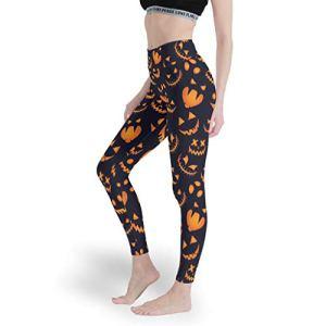 Leggings taille haute Pumpkin Halloween pour femme – Pantalon de yoga doux – Pour entraînement – Blanc – XS