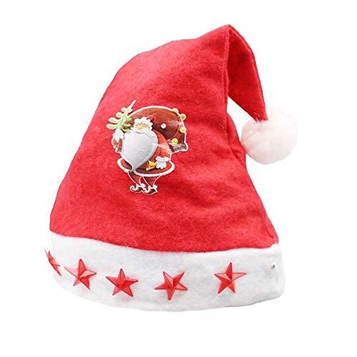 Mignon et Premium Décoration de Noël Napped Tissu Chapeau de Père Noël, la lumière à Cinq Branches étoiles Enfants Motif Déguisé Chapeau de Noël, ChunRongShangMaoYouXianGongSi