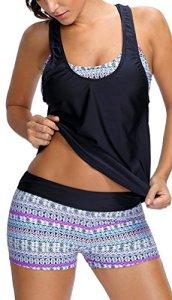 PANOZON Femme Ete Tankini Maillot de Bain Bikini Set 2 Pieces Shorty avec Gilet sans Manches(EUR 36-38 (M), 1-Blanc Fleur)