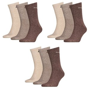 PUMA 9 pair Sport Socks Tennis Socks Gr. 35-49 Unisex, Farben:717 – chocolate/walnut/safar, Socken & Strümpfe:39-42