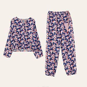 Pyjama De Dames Pyjama En Coton À Manches Longues Classique Femmes Costume Pantalon De Survêtement Imprimer Un Pyjama En Vrac Occasionnels Pajamas Set De Dames ( Color : Multi-colored , Size : XL )