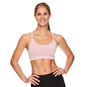 Reebok Women's Wireless Racerback Sports Bra – Medium Impact Seamless Workout Bralette – Relay Graphic Zephyr Heather Pink, Large
