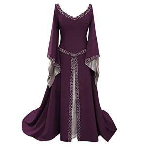 ReooLy Robe mi-Longue à Manches Longues en V pour Cosplay – Violet – X-Large