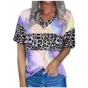 Rifuli Tie Dye Print T-shirt à manches courtes et col en V pour femme Motif léopard – – L