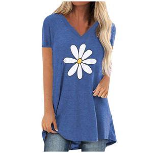Rifuli T-shirt à manches courtes pour femme – Bleu – S