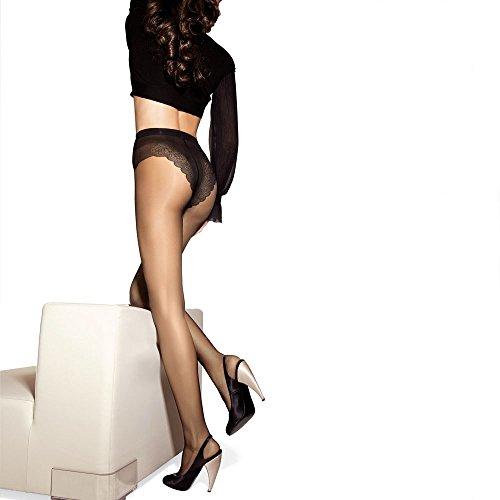 SISI Style 15XL Collant Femme Voilée Stretch avec élégant Corpino brodé épaisseur 15DEN, Miel