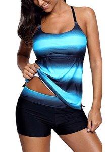 Sixyotie Maillot de Bain Femme 2 Pièces Shorty Tankini Dos Nu à Bretelle Grande Taille Push Up Bikini Tie-Dye Rayures Rembourré (Bleu, FR 46,4XL)