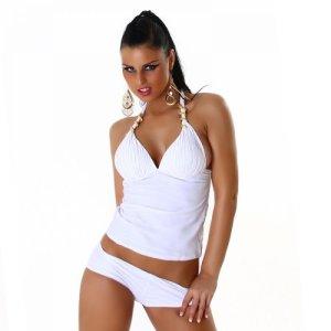 Tankini Halter en Coupe Raff Optique Panty Gr. 38/40 – Blanc