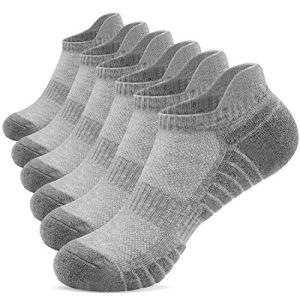 TANSTC Chaussettes de course à pied pour hommes Chaussettes de sport pour femmes Chaussettes de sport en coton coupe-bas rembourrées anti-ampoules pour la randonnée pédestre (6 paires)