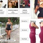 YIANNA Femmes Latex Corset Long Torse 9 Os en Acier Respirant Serré Taille Minceur Bustier Body Shaper Noir,UK-YA110688-Black-M