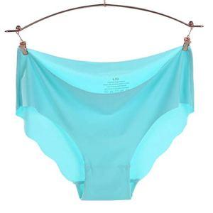 ZZLBUF Culotte pour femme ultra fine en viscose sans couture Culotte pour femme Confort Mid-Rise Volants Sexy Lingerie Unie Slip – Bleu – Medium