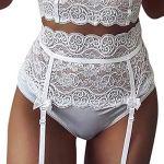 ZZLBUF Ensemble de lingerie sexy en dentelle avec broderie et col en V pour femme – Blanc – XL