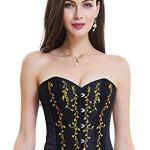 Charmian Women's Gothic Vintage Floral Renaissance Steel Boned Embroidery Overbust Corset Top Black Large