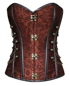 Charmian Women's Spiral Steel Boned Steampunk Gothic Bustier Corset with Chains Brown XXX-Large