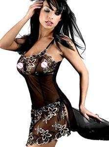 CICSI Culottes Sexy Femme Chemise De Nuit Exotique Noire Grande Taille S-6Xl-Xl