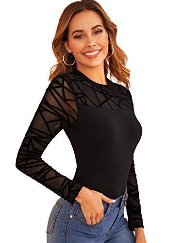 DIDK Femme Body Manches Longues Bodysuit Haut en Tulle Top Sexy Slim Combinaison Col Rond sous-vêtements Lingerie Noir 4-M