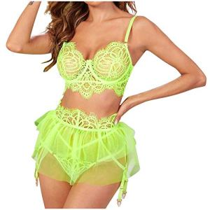 Ensemble de lingerie sexy en dentelle pour femme – Soutien-gorge rembourré en dentelle et culotte – Mini sari – 3 pièces – Vert